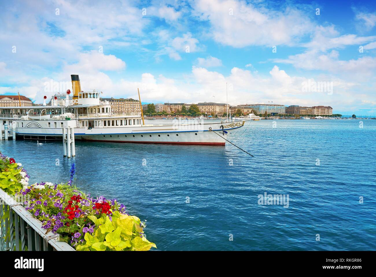 Geneva Geneve Leman lake Switzerland Swiss. - Stock Image