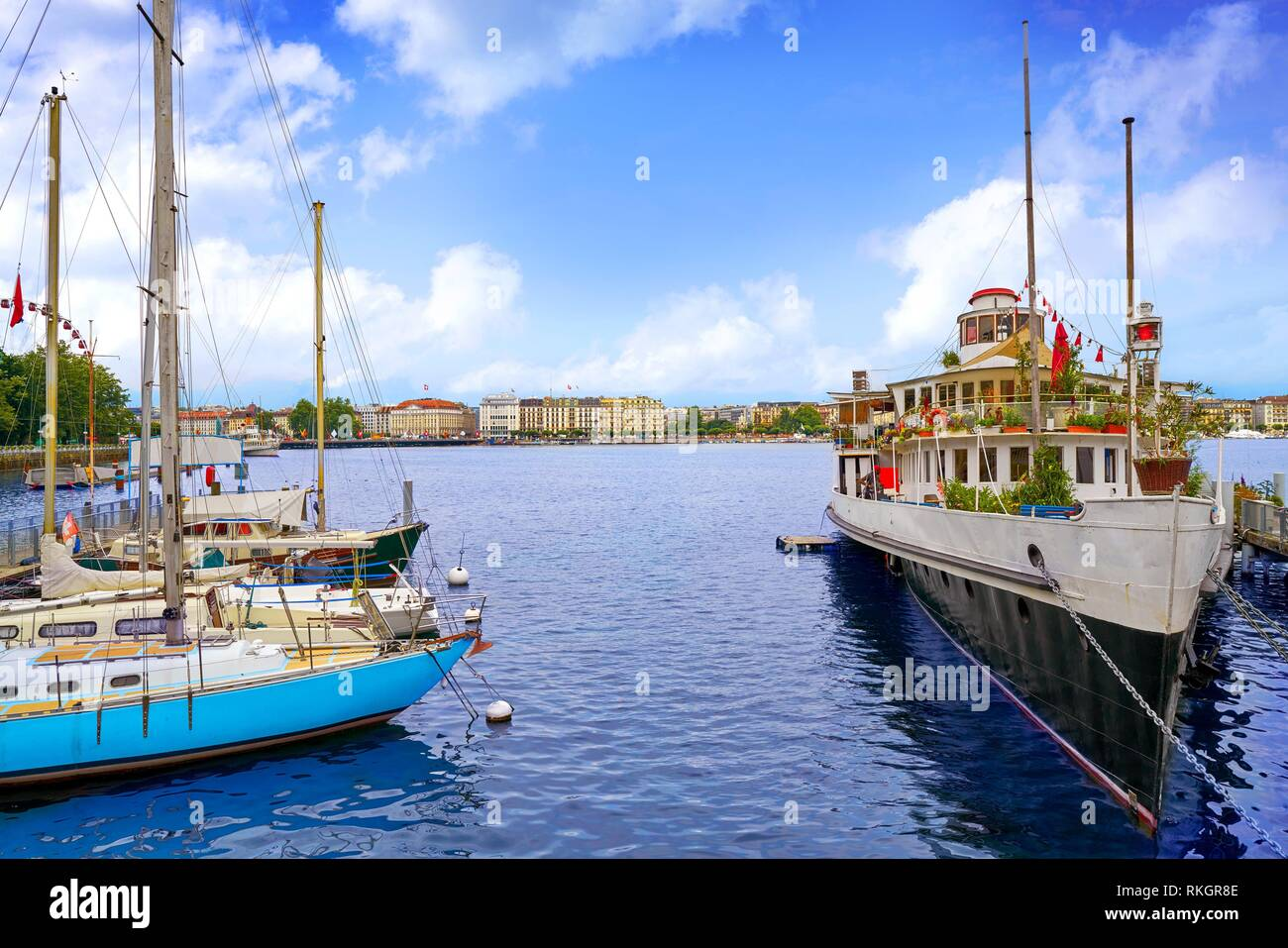 Geneve lake Geneva of Switzerland Swiss at Leman lake. - Stock Image