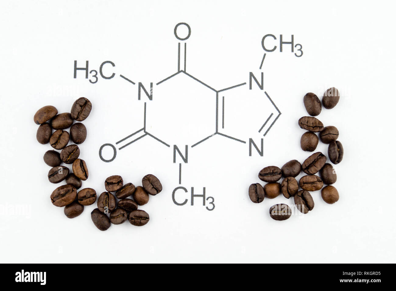chemical structure of a caffeine molecule Stock Photo