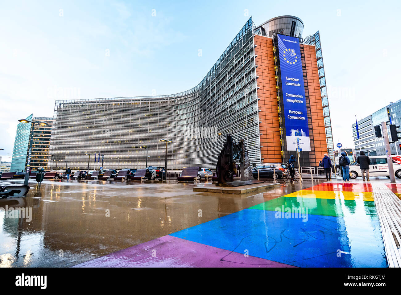 Berlaymont building, it houses the headquarters of the European Commission - Stock Image