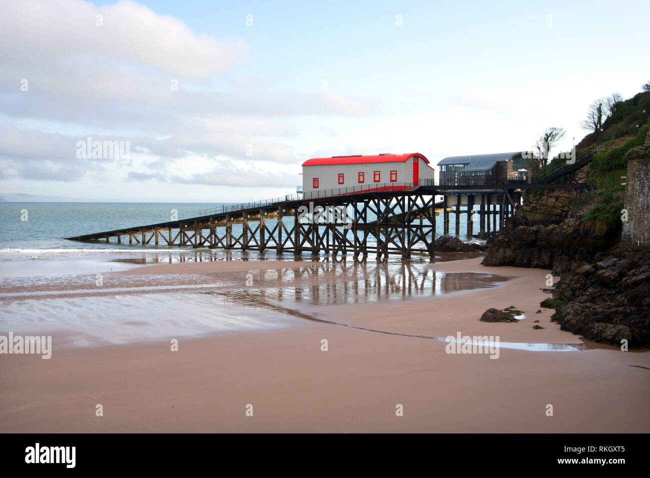 UK, Wales, Pembrokeshire, old and new Lifeboat Stations at Tenby. Stock Photo