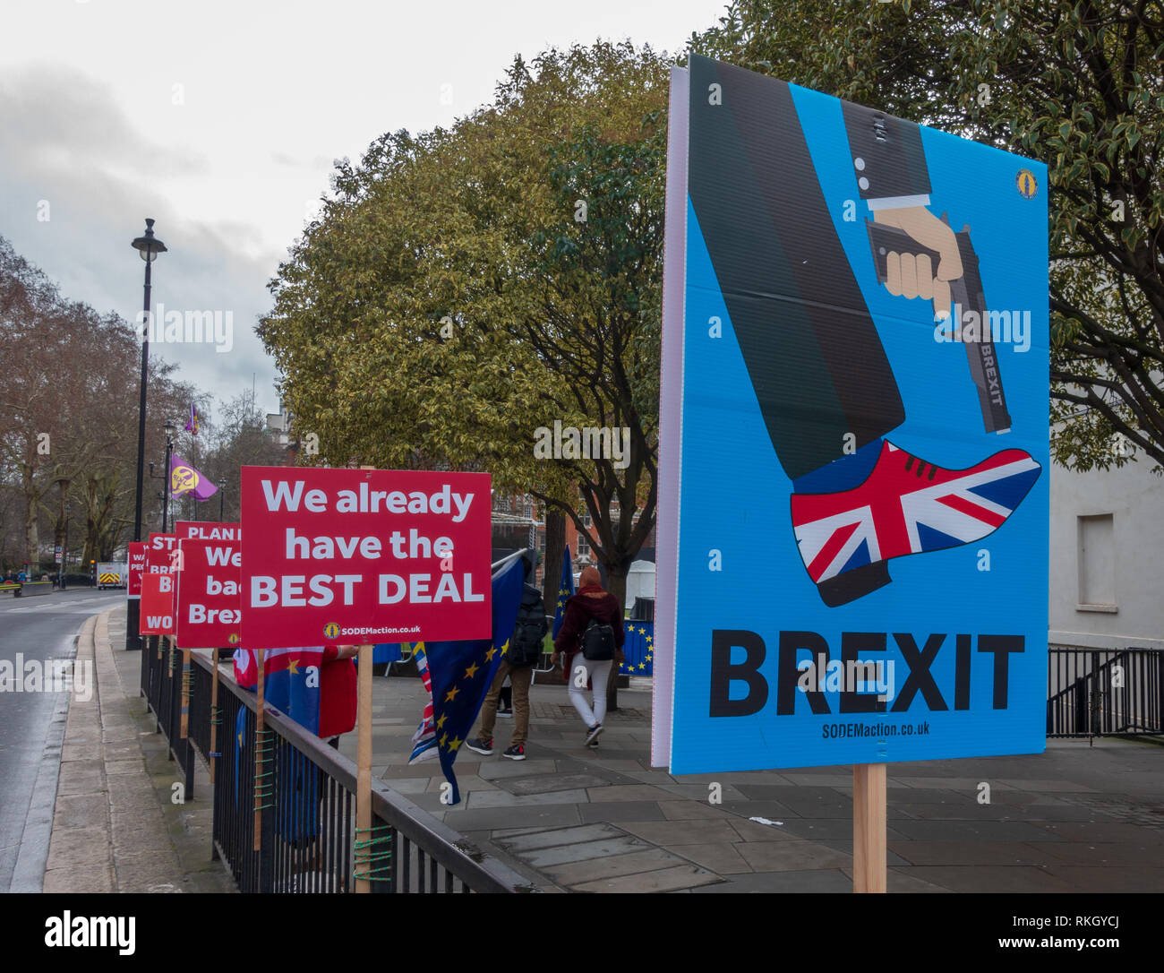 Remain campaigners outside British Parliament in London - Stock Image