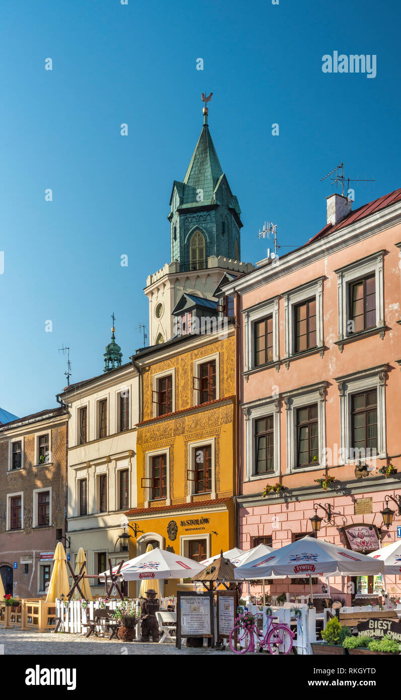 Trinitarian Tower, houses at Rynek or Market Square at Old Town in Lublin, Malopolska aka Lesser Poland region, Poland - Stock Image