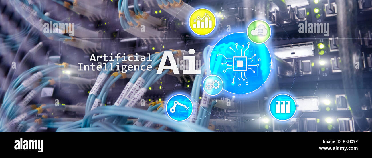AI, Artificial intelligence, automation and modern information technology concept on virtual screen - Stock Image