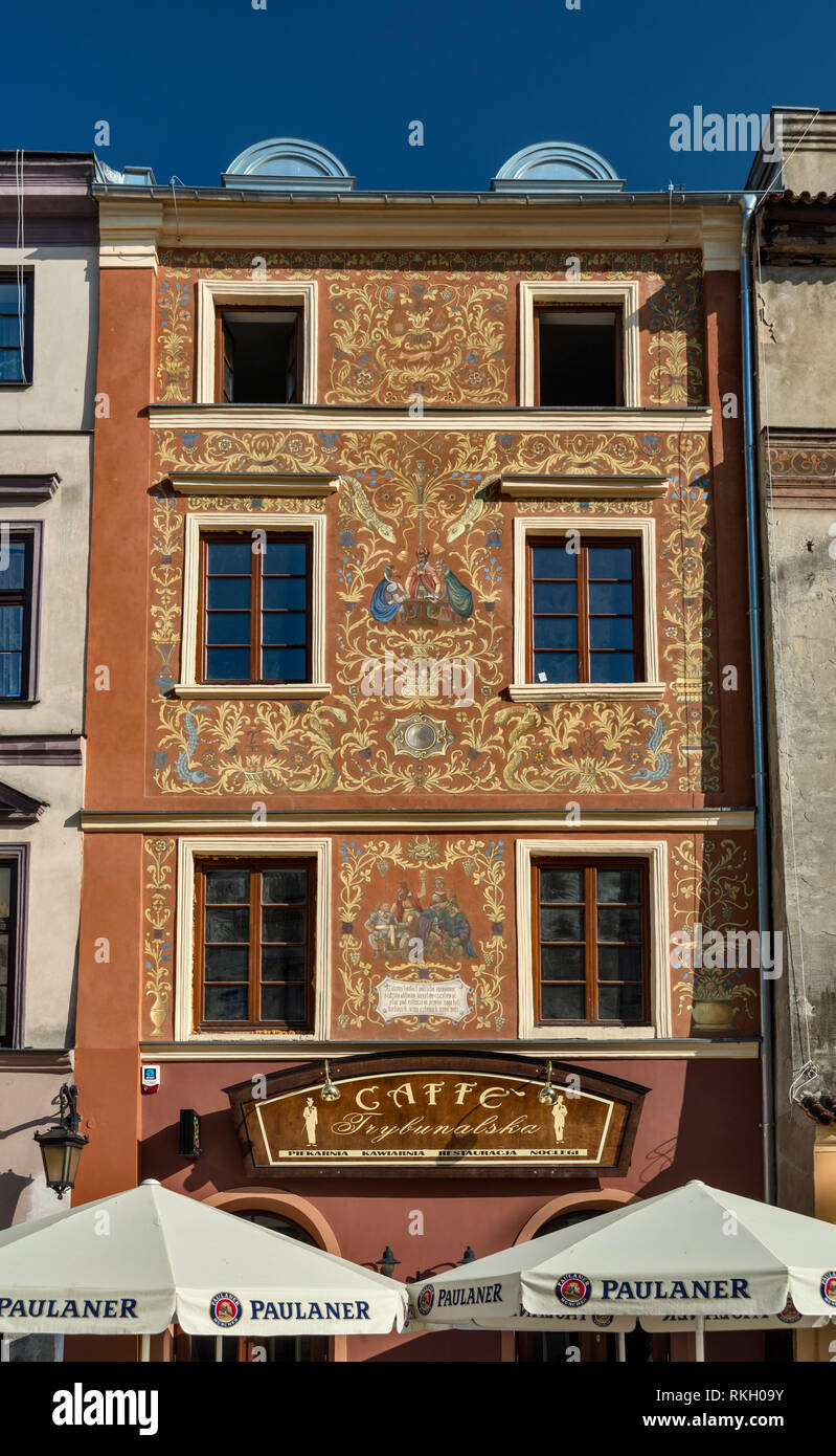 1950s frescoes on house at Rynek or Market Square at Old Town in Lublin, Malopolska aka Lesser Poland region, Poland - Stock Image