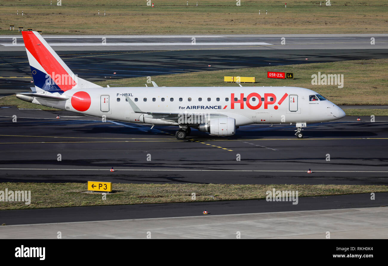 Duesseldorf, North Rhine-Westphalia, Germany - HOP! Airplane on its way to the runway, Duesseldorf International Airport, DUS Duesseldorf, Nordrhein-W Stock Photo