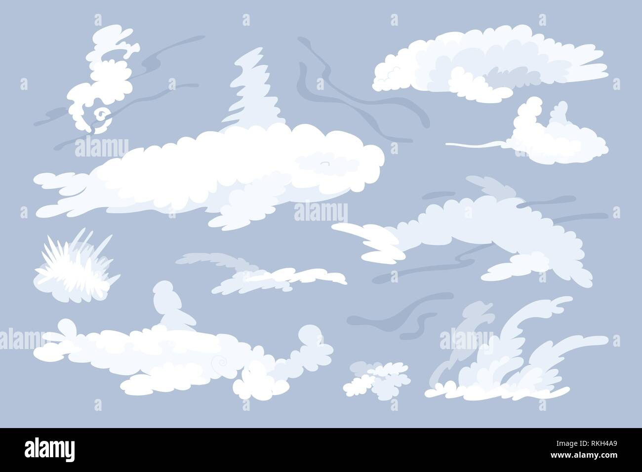 vector animal shaped cloud. Flat pastel set Stock Vector
