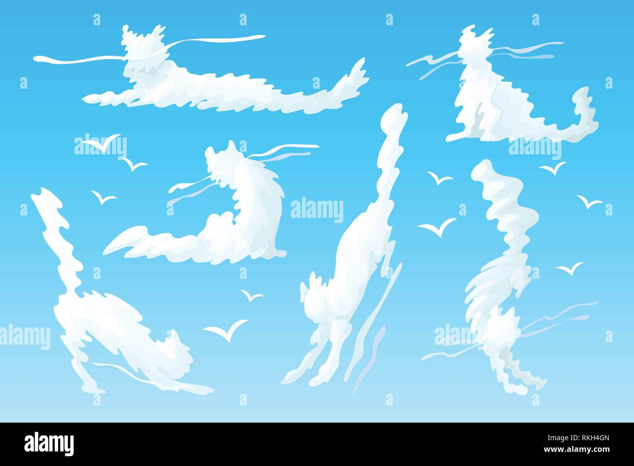 vector animal shaped cloud. Cartoon cloudy sky set Stock Vector