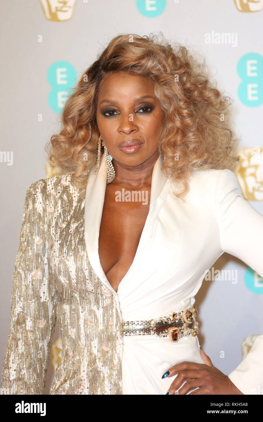London, UK, February 10th, 2019. Mary J Blige attends the 72nd British Academy Film Awards at the Royal Albert Hall - Stock Image
