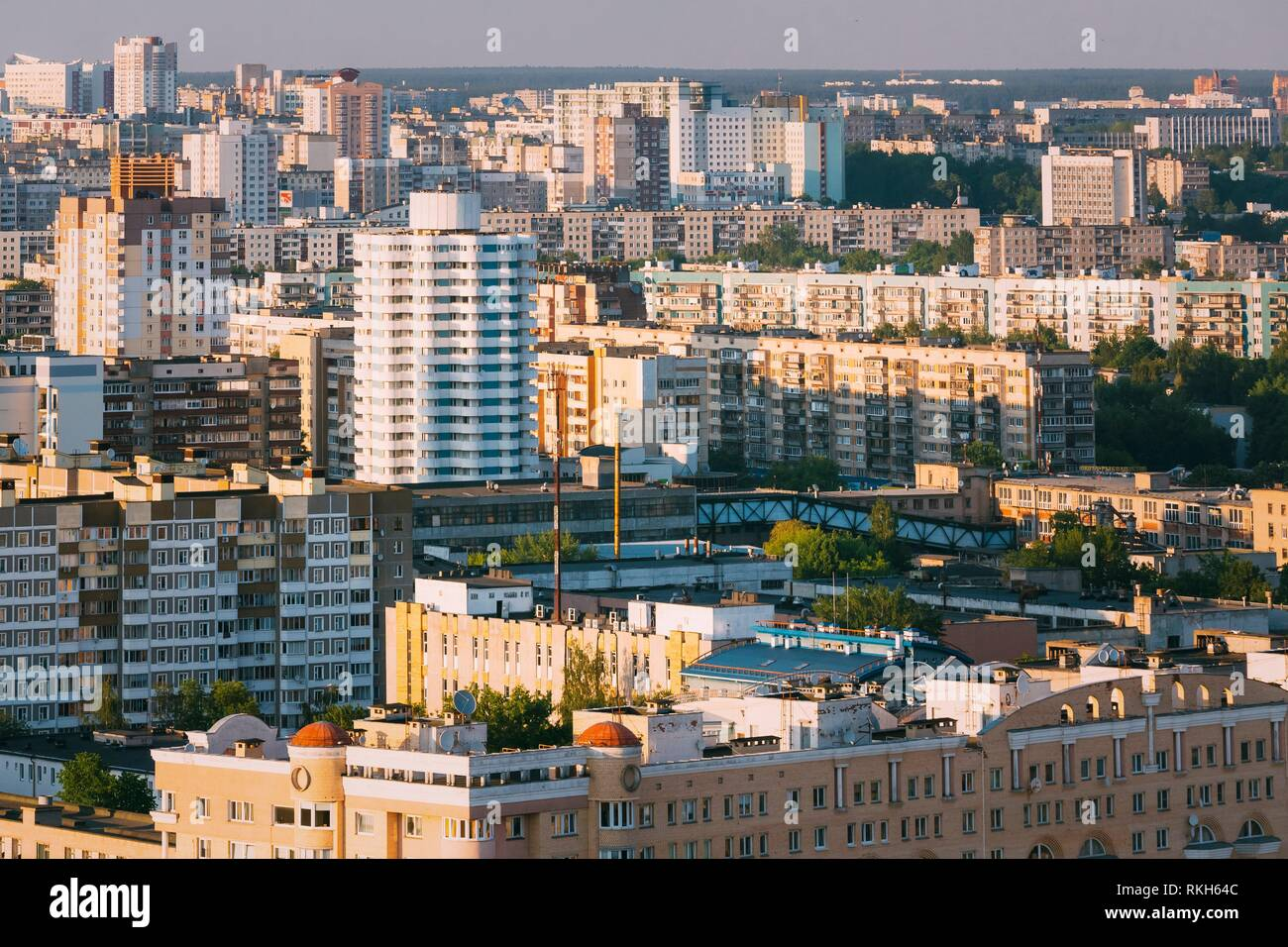 Aerial urban view, cityscape of Minsk, Belarus. - Stock Image