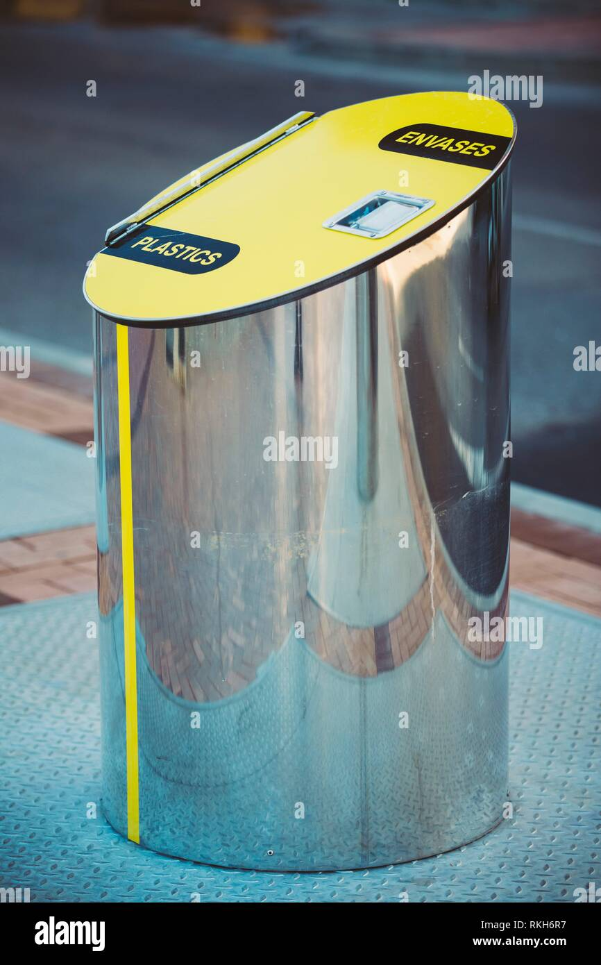 Metal Waste bin, trash can for separate waste outdoor. Cylindrical Bin For Collection Of Recycle Materials. - Stock Image