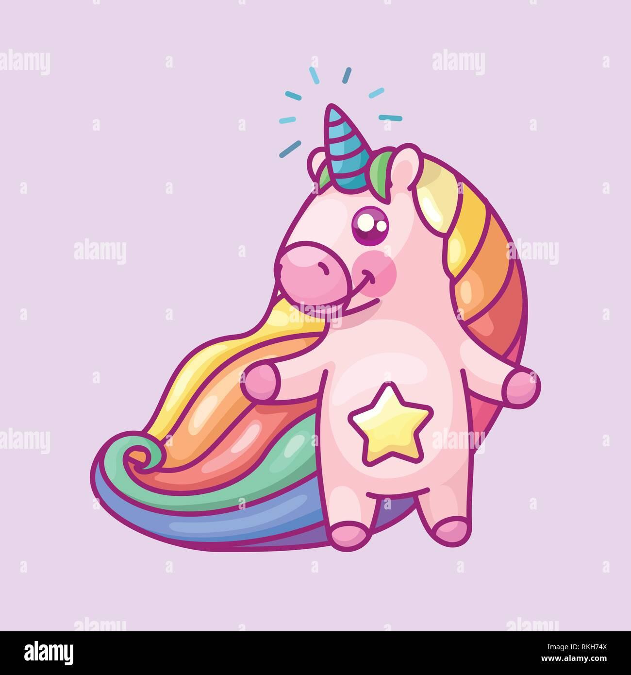 vector volume rainbow unicorn, magic nursery art - Stock Vector
