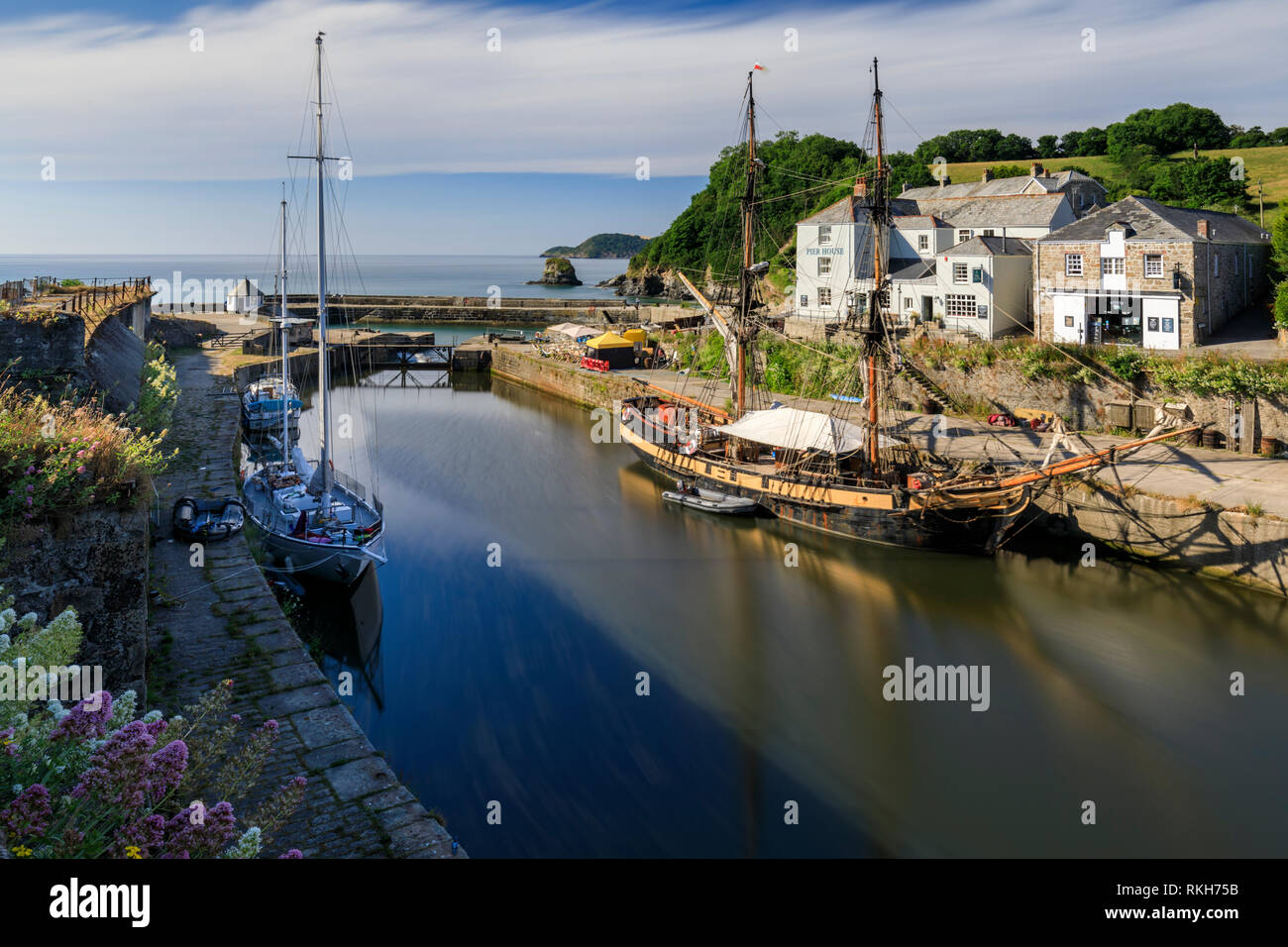 Charlestown Harbour in Cornwall. - Stock Image