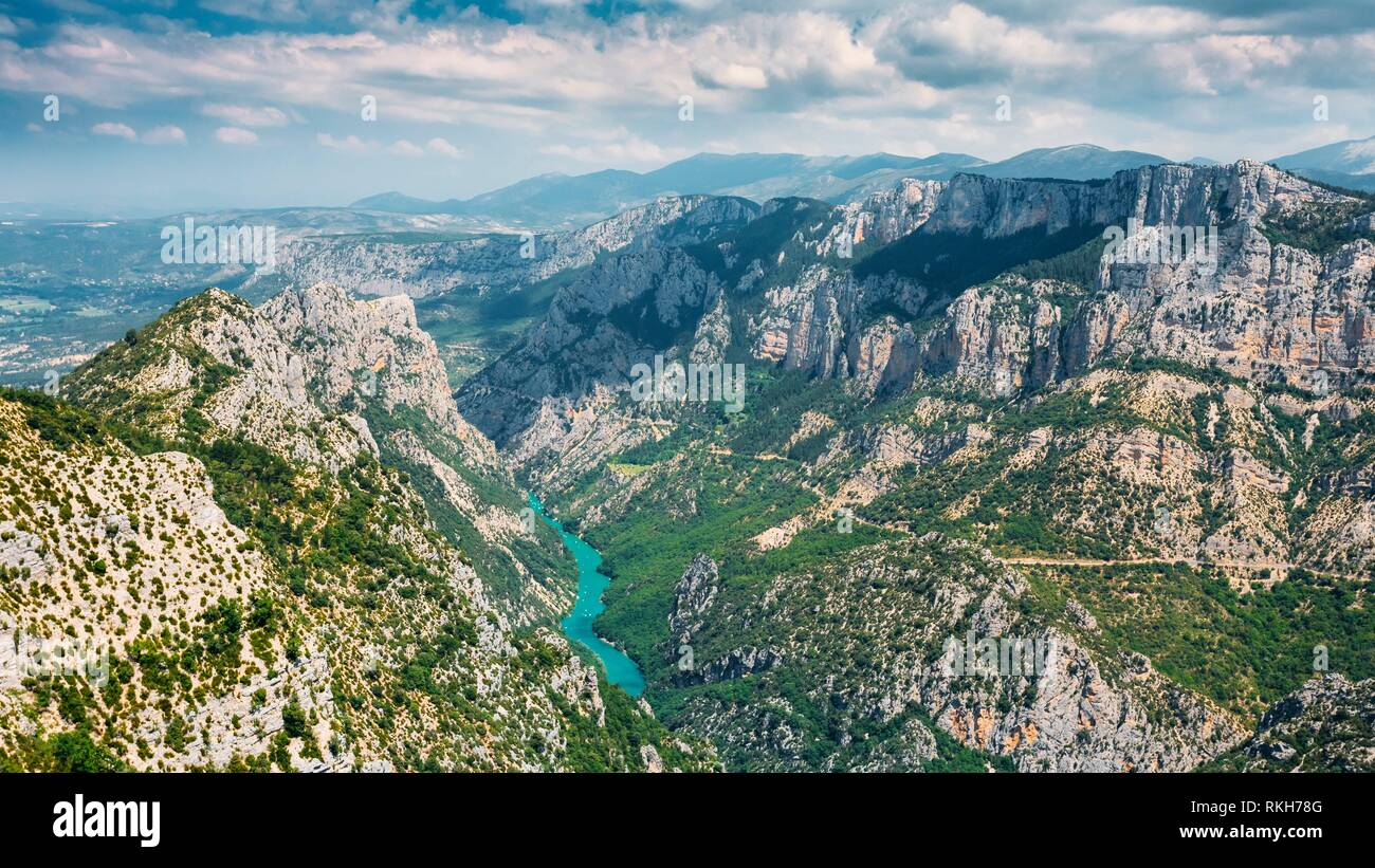 Panorama of amazing landscape of the Gorges Du Verdon in south-eastern France. Provence-Alpes-Cote d'Azur. Stock Photo