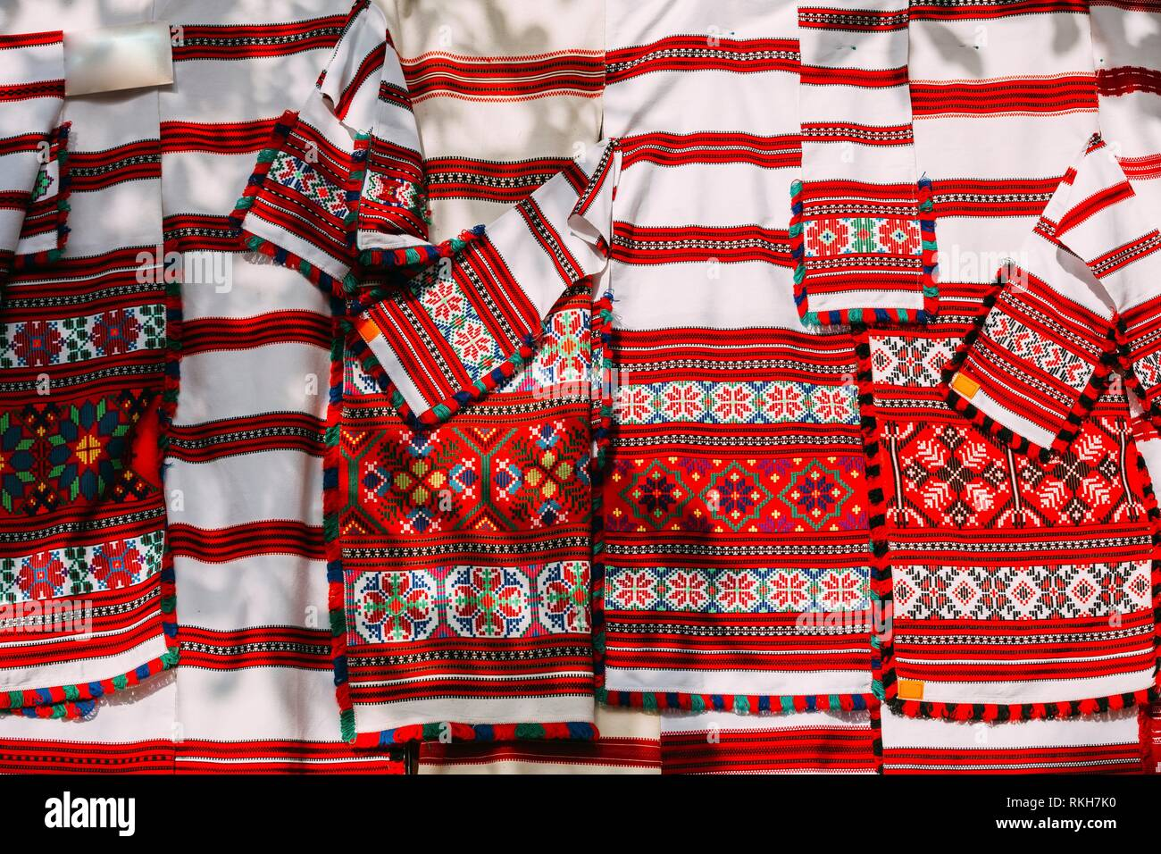 Belorussian ethnic national folks ornament on clothes. Slavic Traditional Pattern Ornament Embroidery. Culture of Belarus. - Stock Image