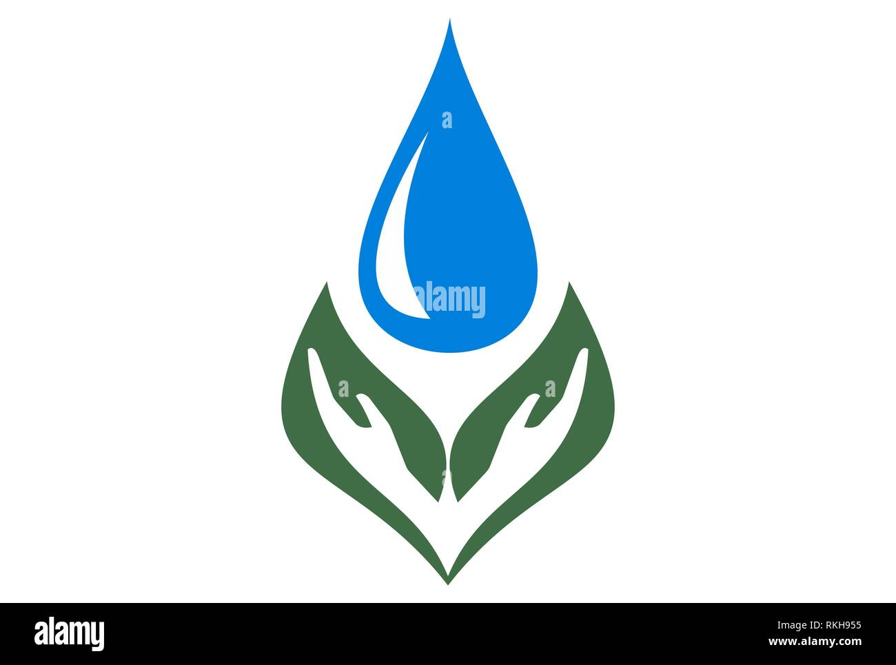 hand leaf water icon vector concept vector concept flat design - Stock Image
