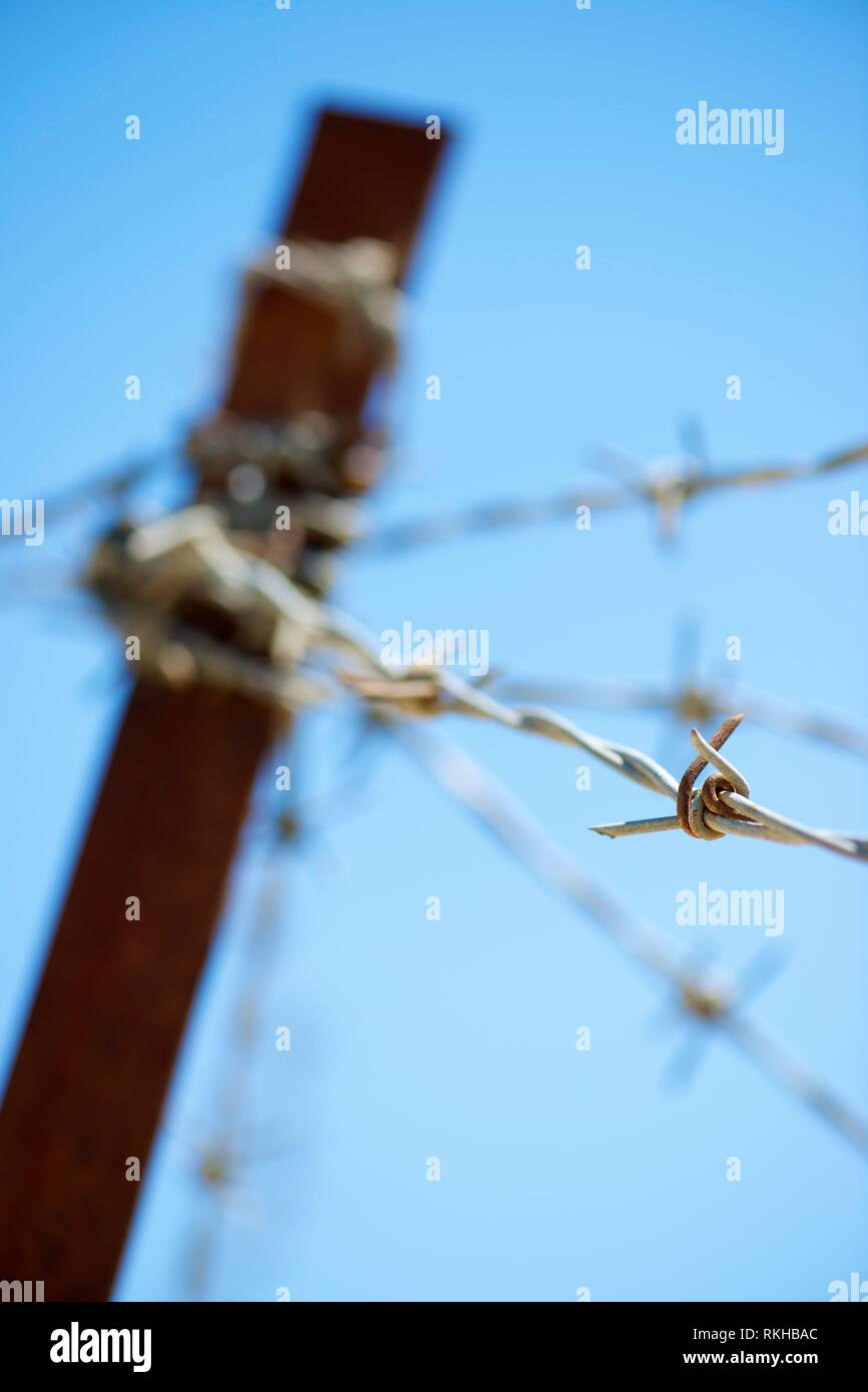 foreground of a barbed wire fence. - Stock Image