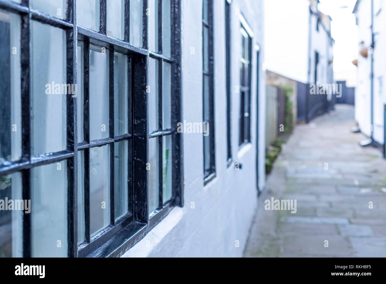 Narrow back street passages and terraced houses and cottages. Whitby, North Yorkshire. UK Stock Photo