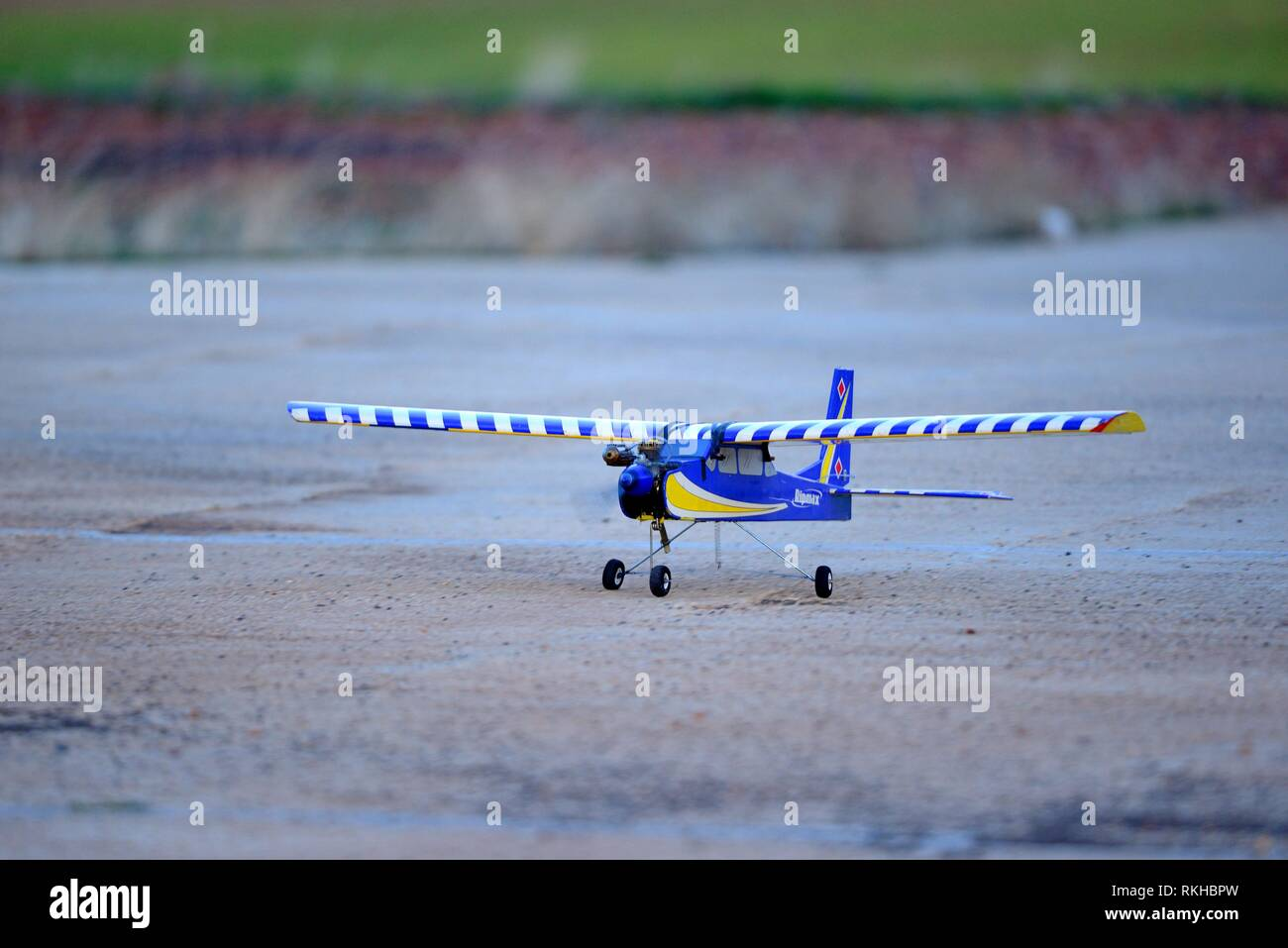 Model airplane approaching to land. - Stock Image