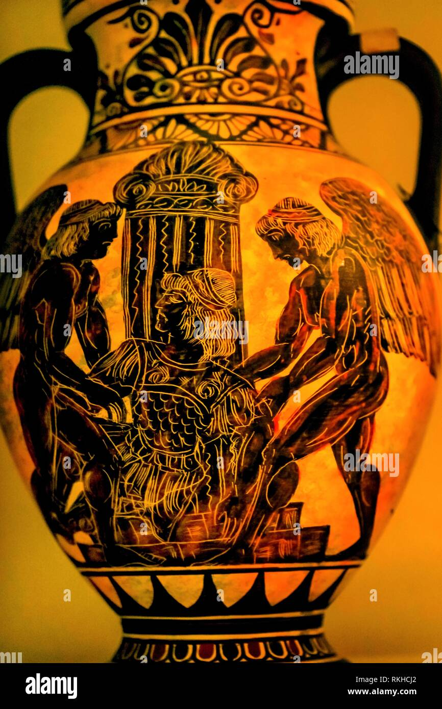Angels Greek Designs Ancient Replica Pottery Vase Athens Greece. - Stock Image