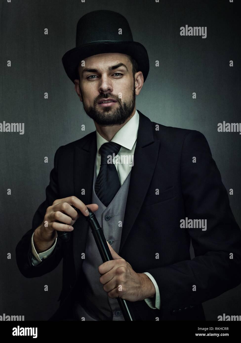 Englishman detective, retro style male portrait. - Stock Image