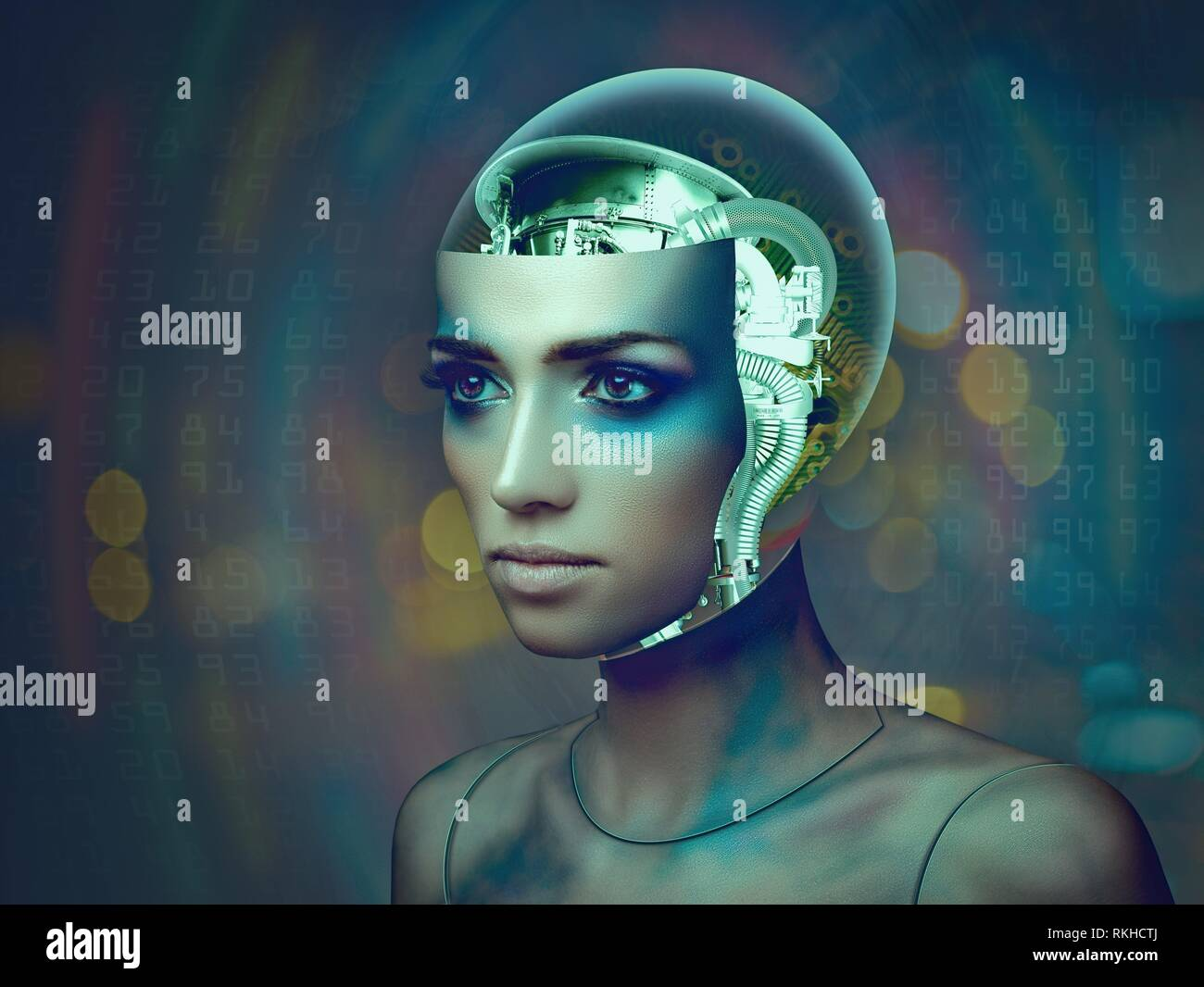 Cybernetic organism, female portrait with science and technology abstract backgrounds. - Stock Image