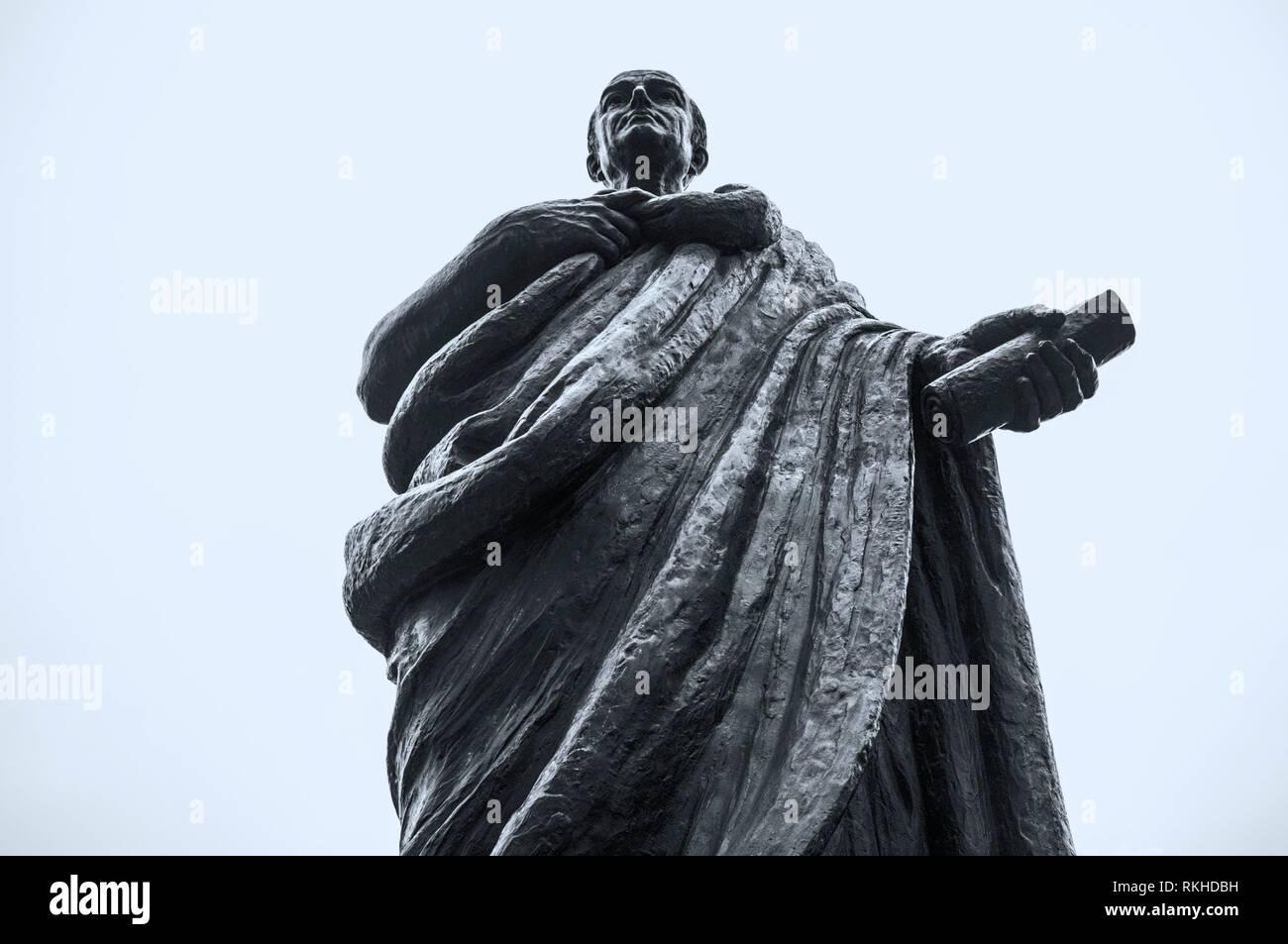 Bronze Statue of Seneca the Younger, Roman Stoic philosopher. Cordoba, Spain. - Stock Image