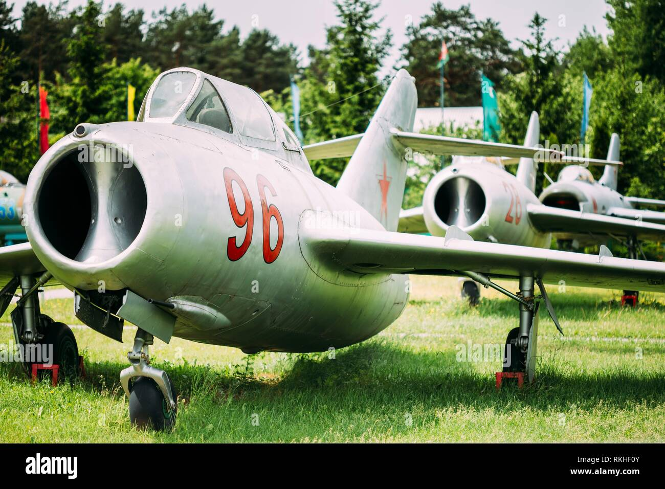 Old Russian Soviet Supersonic Military Plane Aircraft Fighter-bomber Stands At Aerodrome. - Stock Image