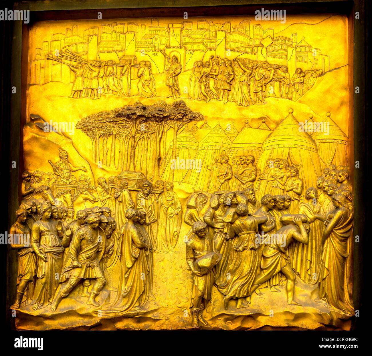 Fall of Jericho Gates of Paradise Ghiberti Bronze Door Bapistry Duomo Cathedral Church Florence Italy. Bapistry was created in 1100s. Bronze Doors - Stock Image