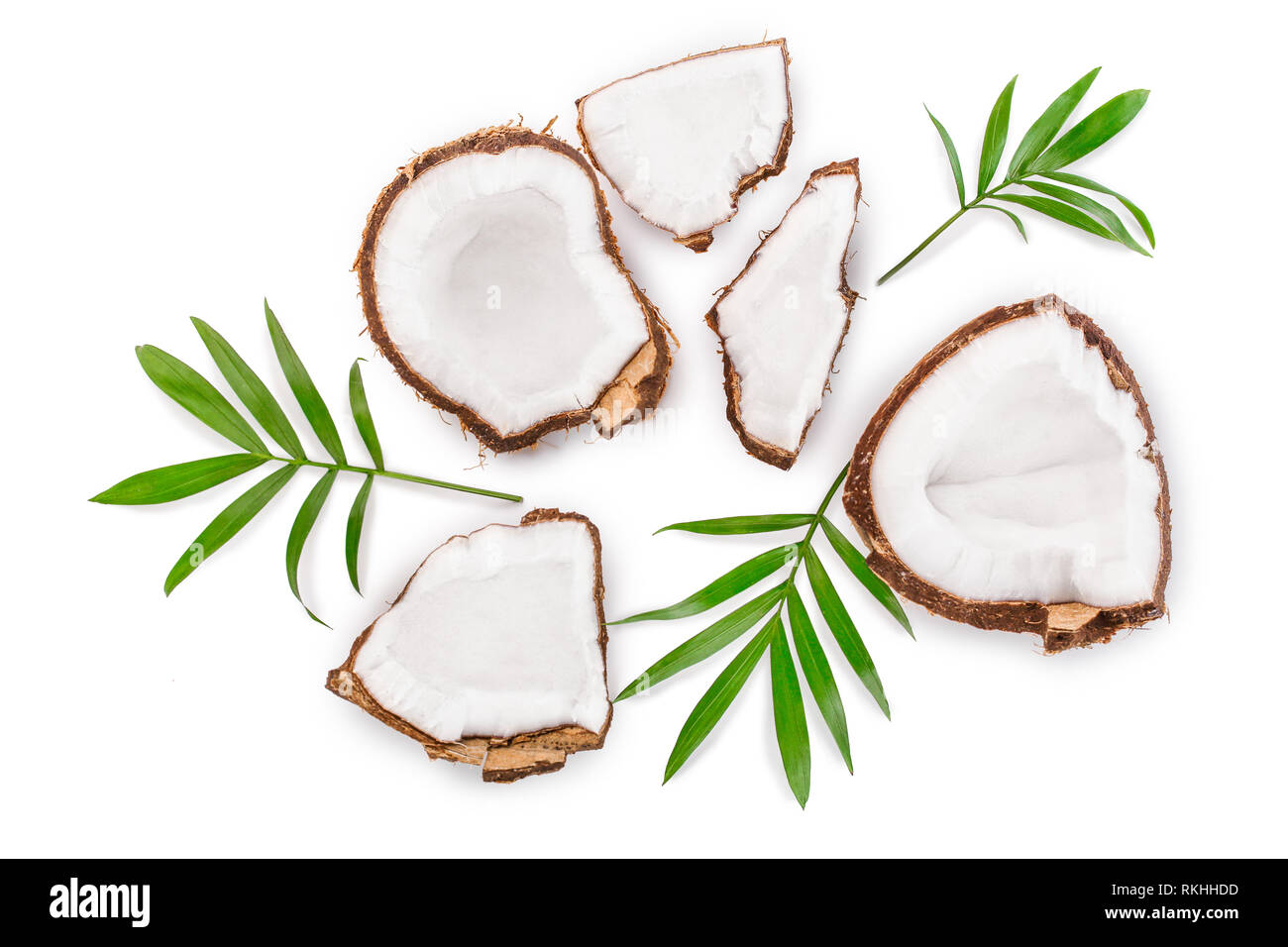 coconut with leaves isolated on white background. Top view. Flat lay - Stock Image