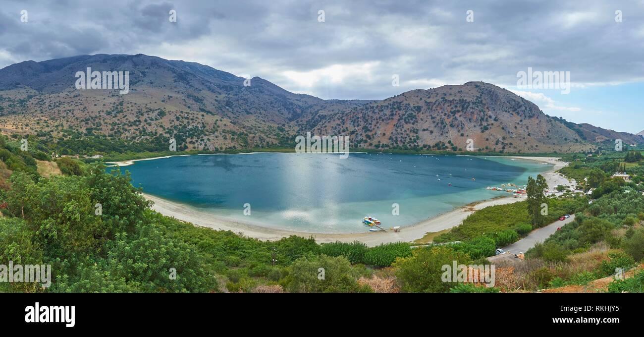 Freshwater lake, Lake Kournas, Crete, Greece - Stock Image