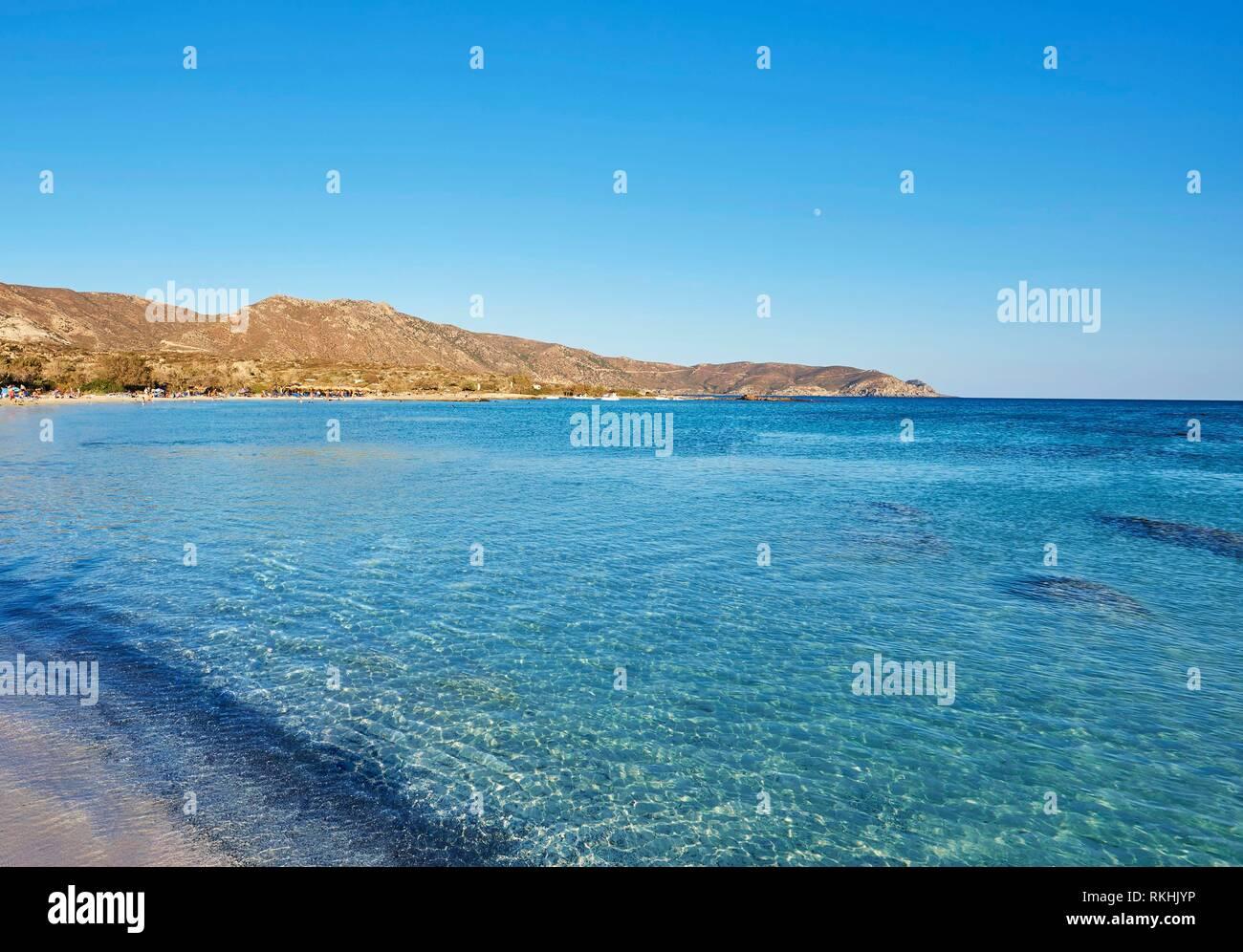 Clear blue water, Elafonisi beach, Crete, Greece Stock Photo