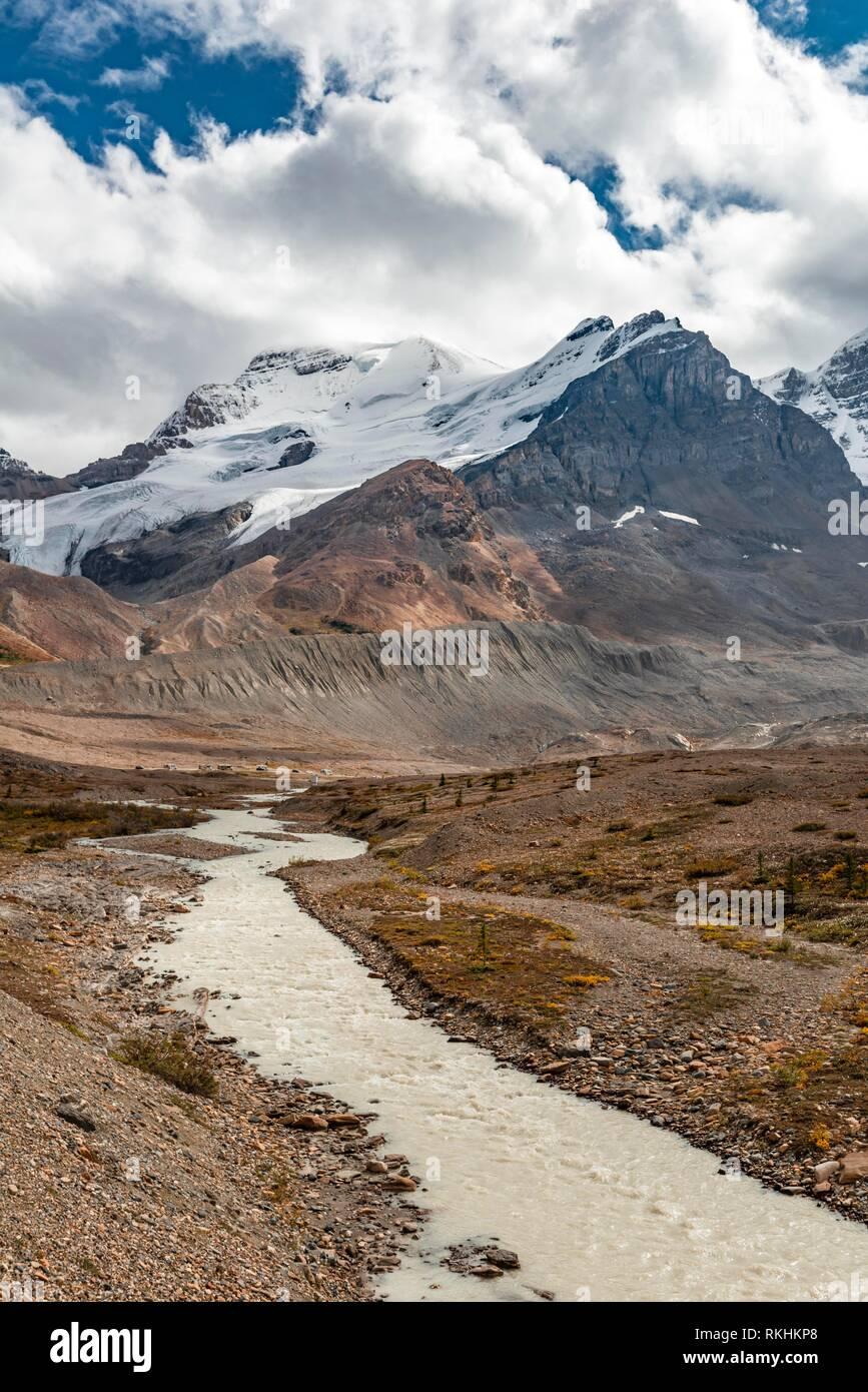Glacier Valley of Mount Athabasca, Saskatchewan Glacier, Athabasca Glacier, Icefields Parkway, Jasper National Park National - Stock Image