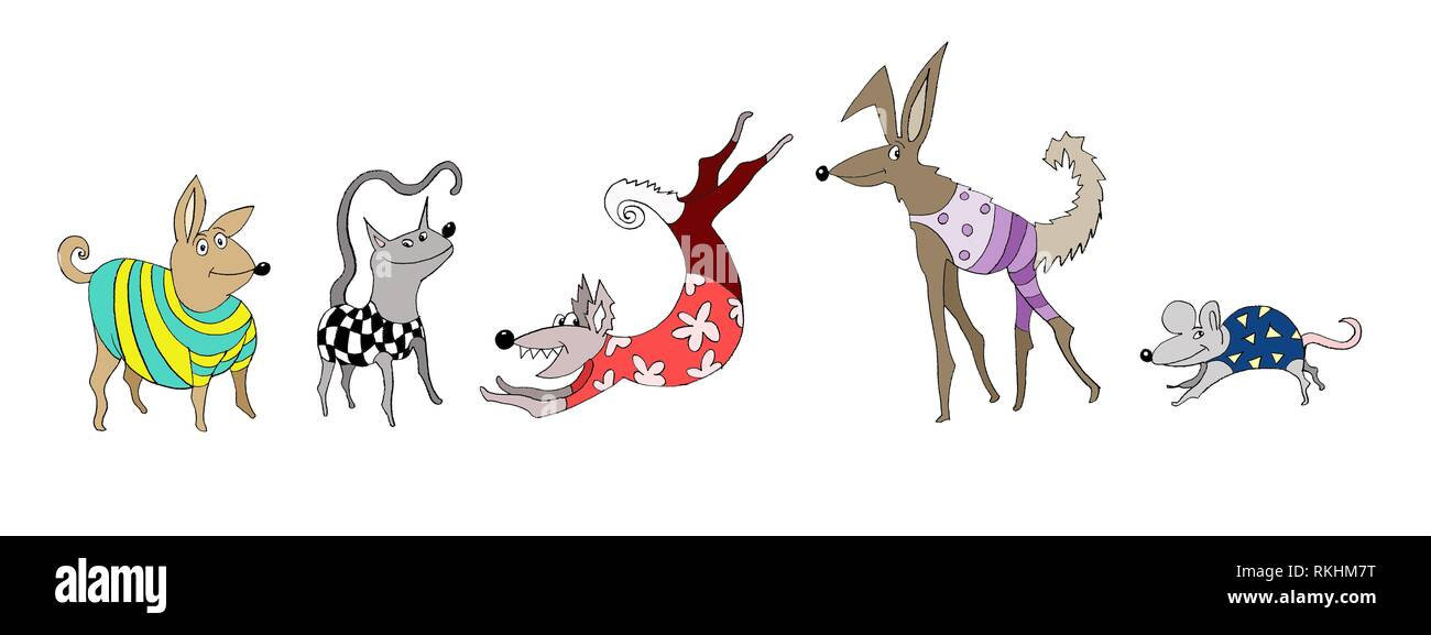 Crazy animals, Freisteller, dog, cat, mouse with clothes, white background, Germany - Stock Image