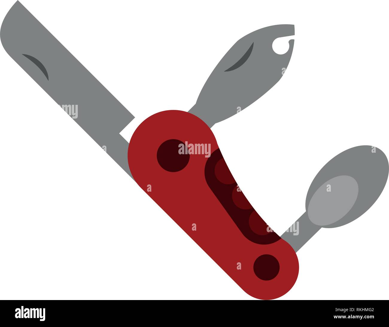 camping multifuncional knife equipment - Stock Vector