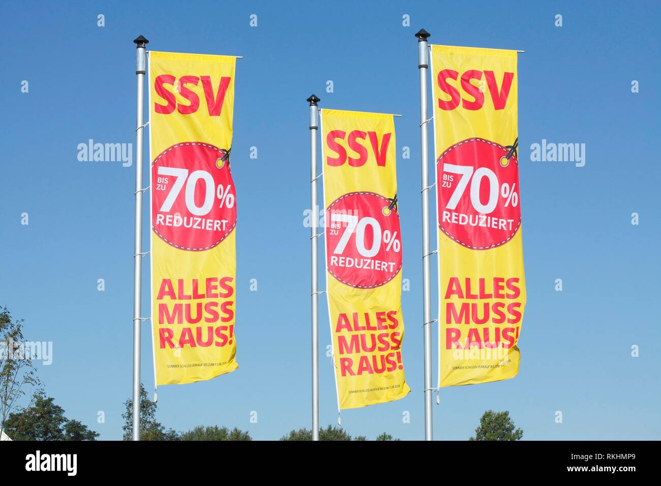 Flags summer sales, prices reduced by up to 70 percent, Germany - Stock Image