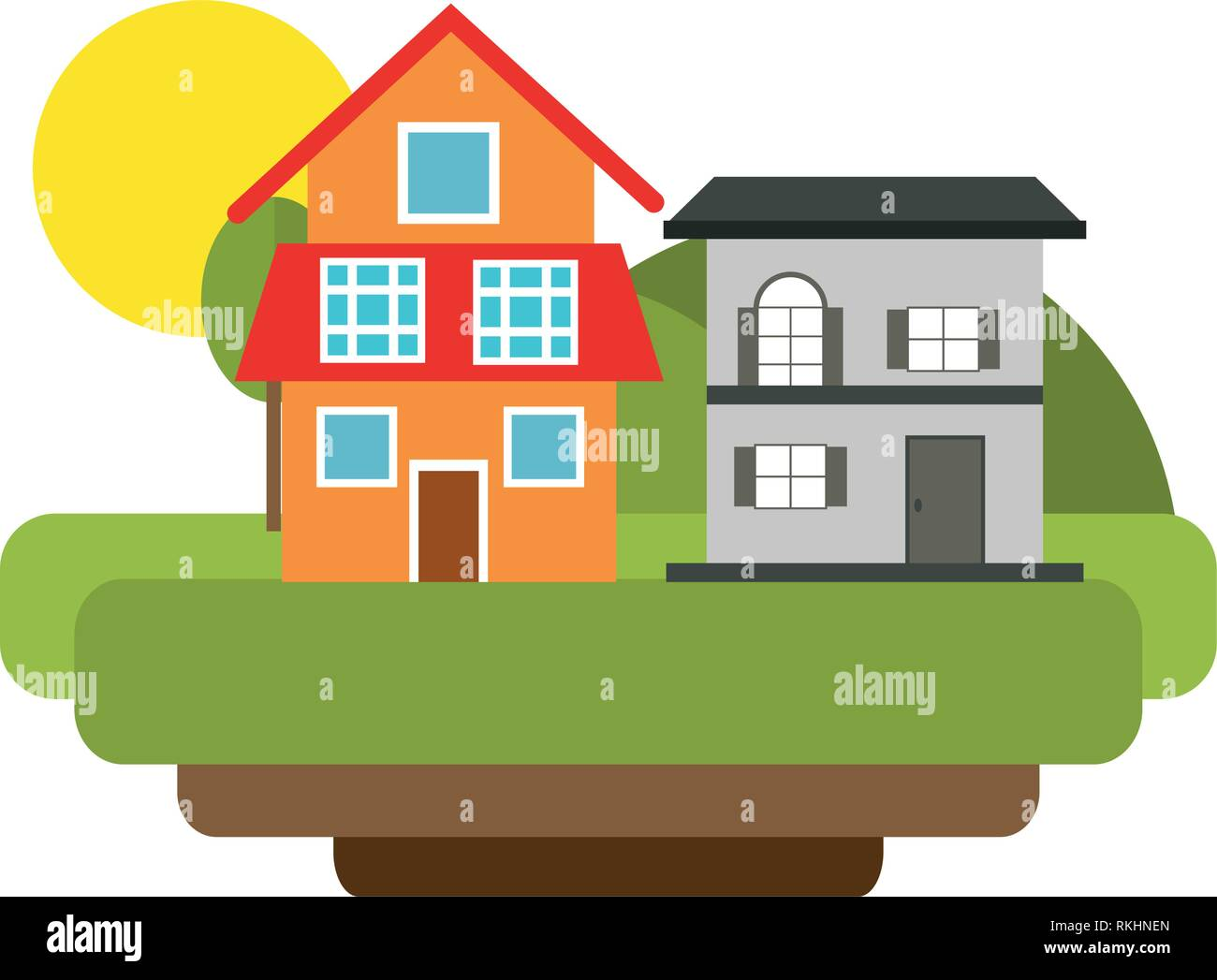 Eco house with green energy - Stock Vector