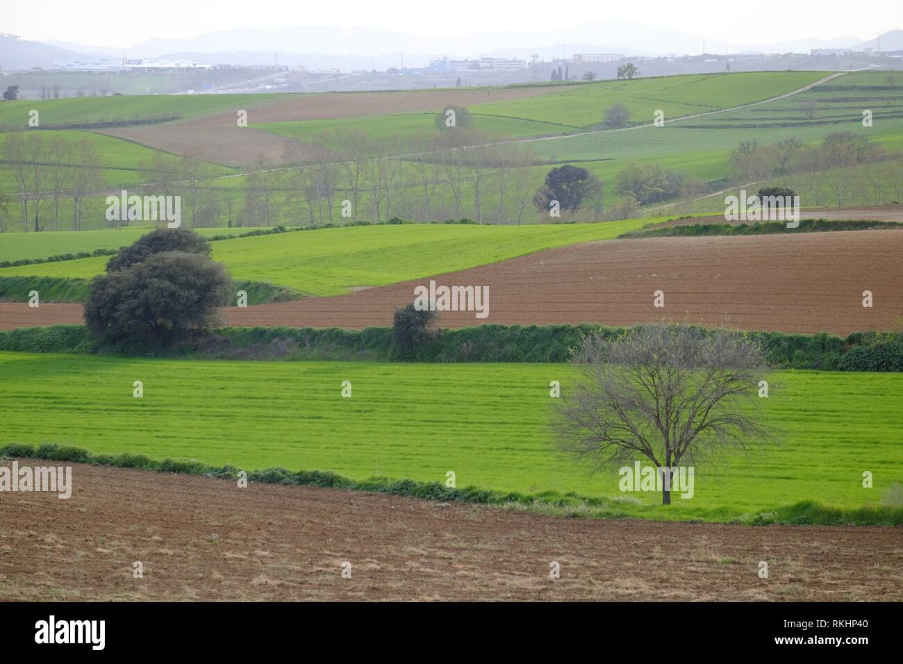 Greenfield and hill in Mollet del Valles in Barcelona province in Catalonia Spain. - Stock Image