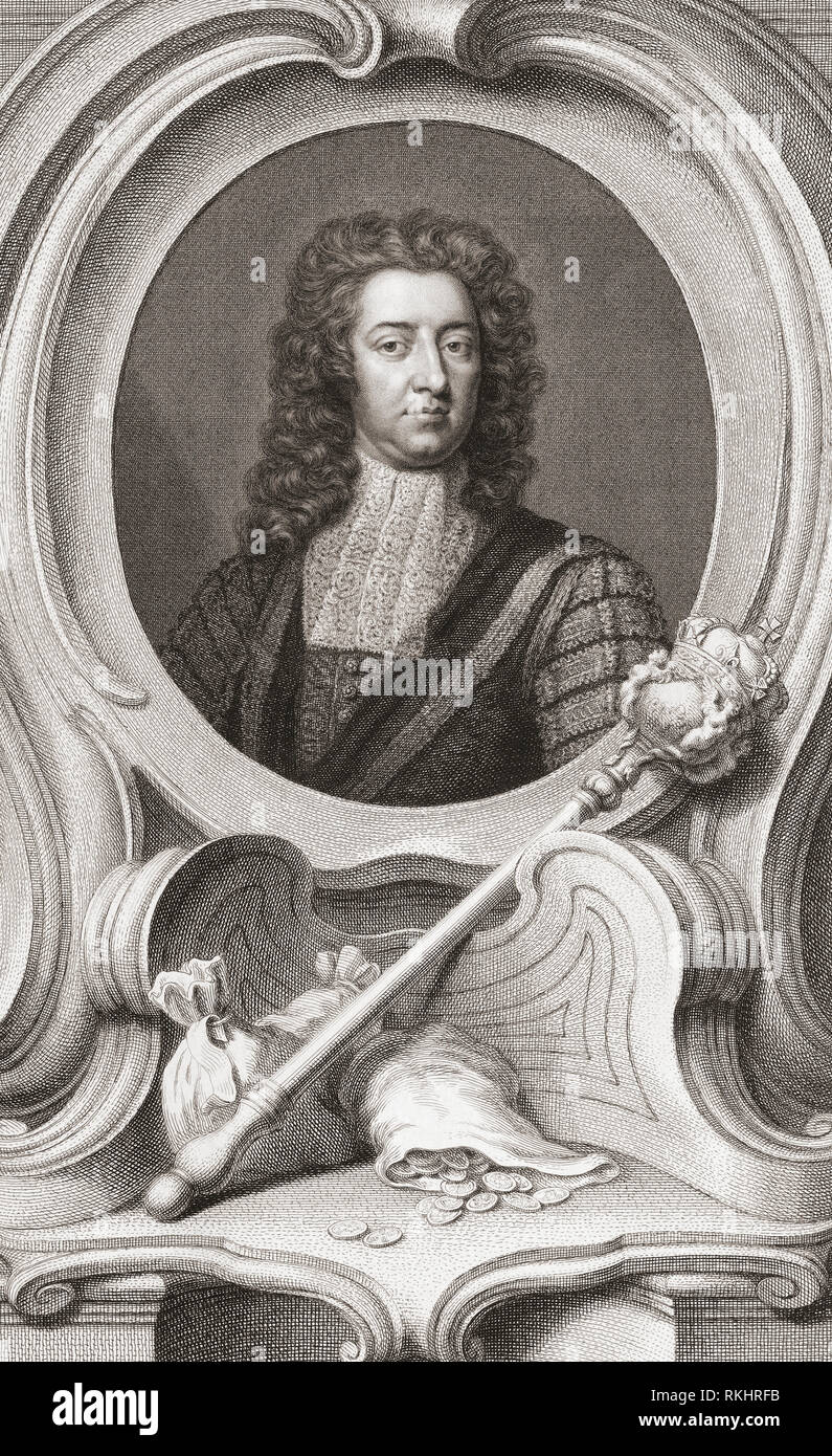 Henry Boyle, 1st Baron Carleton, 1669 – 1725.  Anglo-Irish politician.  Lord of the Treasury and Chancellor of the Exchequer.  From the 1813 edition of The Heads of Illustrious Persons of Great Britain, Engraved by Mr. Houbraken and Mr. Vertue With Their Lives and Characters. - Stock Image