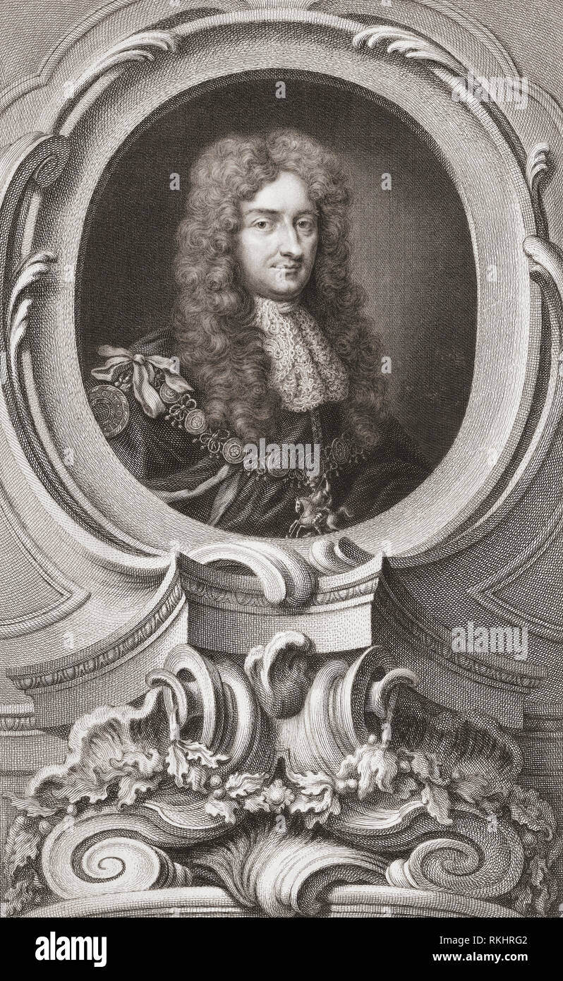 Laurence Hyde, 1st Earl of Rochester, 1641-1711.  English statesman and writer.  From the 1813 edition of The Heads of Illustrious Persons of Great Britain, Engraved by Mr. Houbraken and Mr. Vertue With Their Lives and Characters. - Stock Image