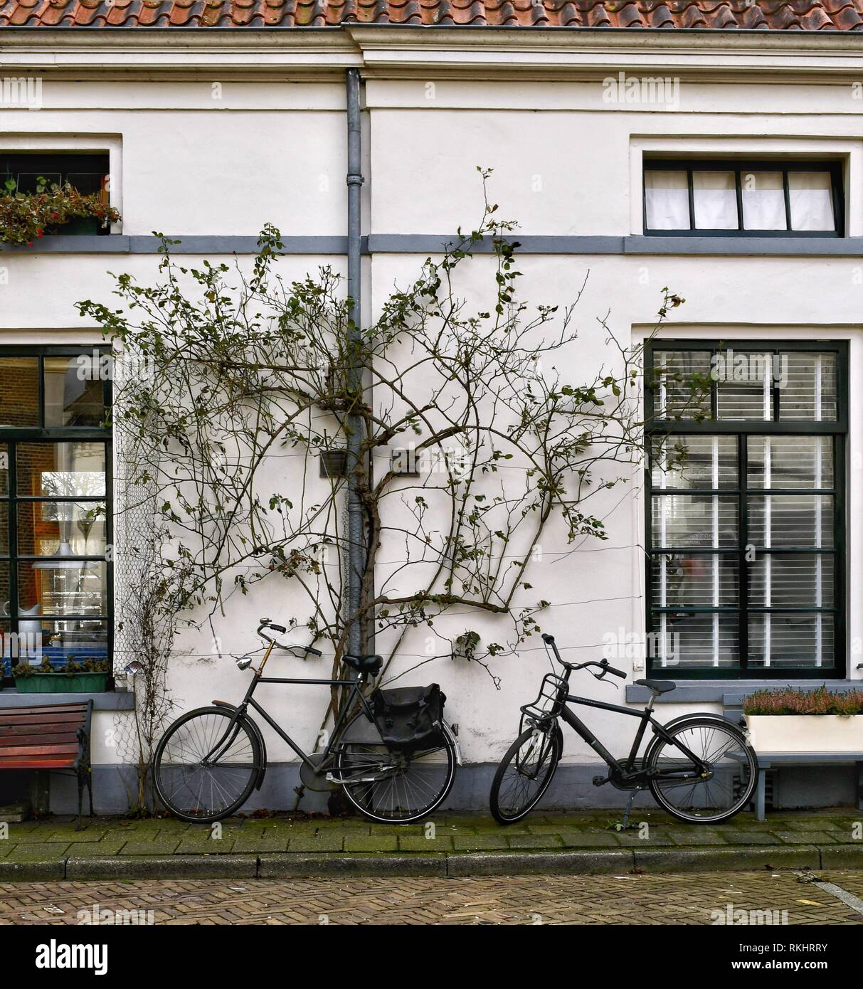 Two bicycles parked against a house in Zwolle in the Netherlands Stock Photo