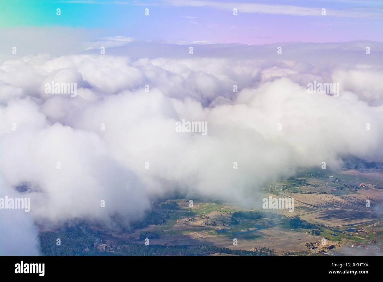 Flight images with clouds in interesting formations near Arlanda airport, Stockholm, Sweden. - Stock Image