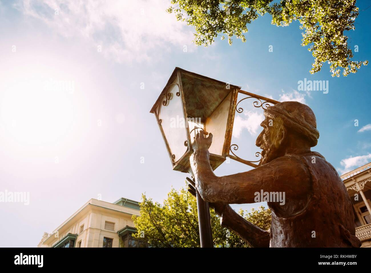 Statue Of Old Lamplighter, Igniting Lights On Streets Of Tbilisi - The Capital Of Georgia. - Stock Image