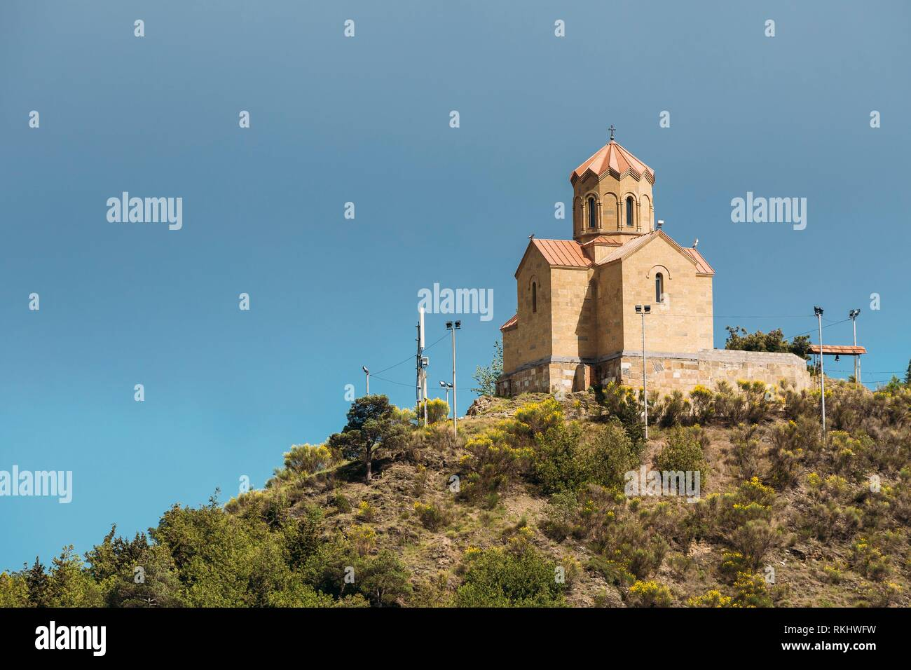 Tabor Monastery of the Transformation in Tbilisi, Georgia. Hilltop Church. - Stock Image