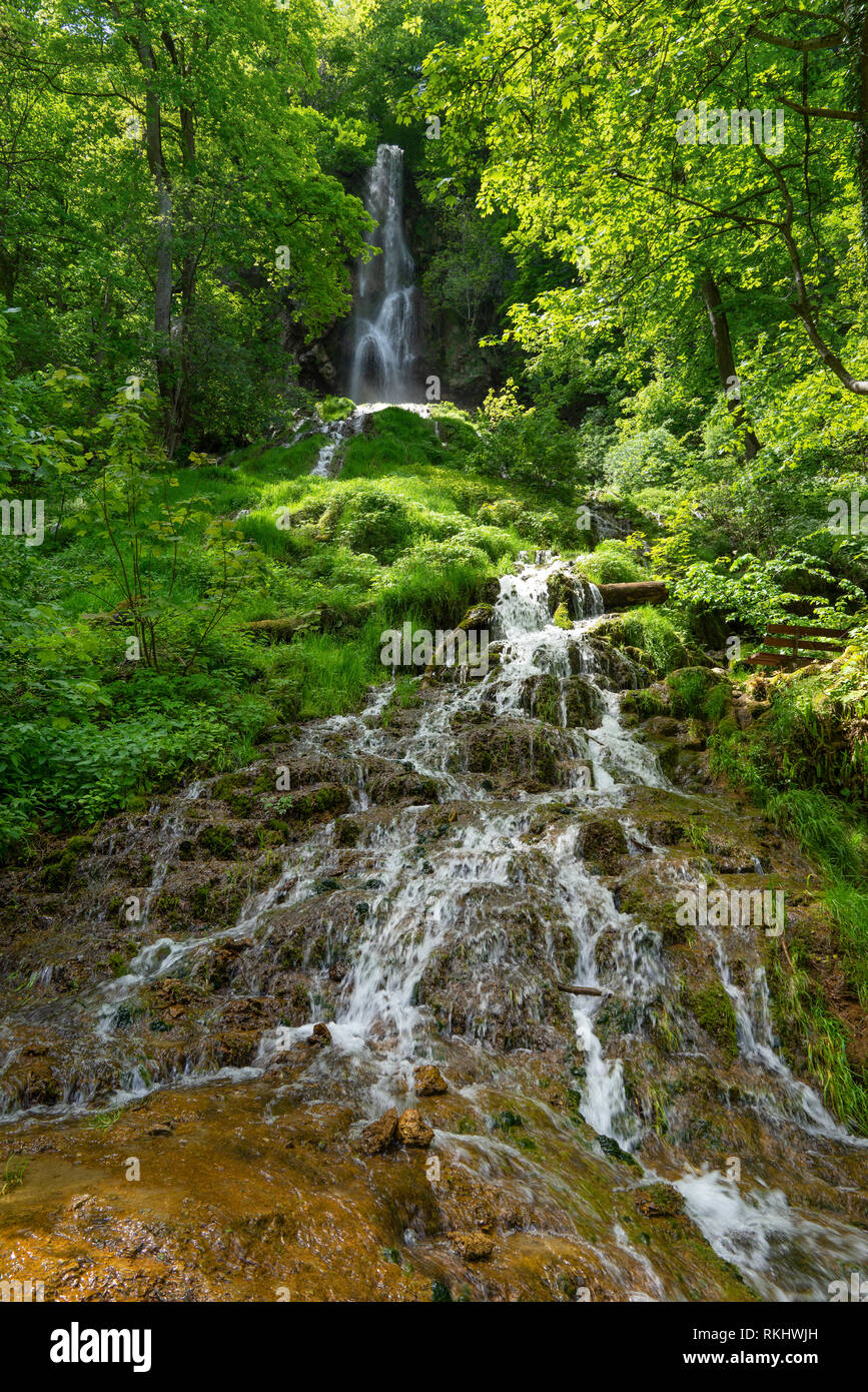 Frontal view of the Urach waterfall, Germany - Stock Image