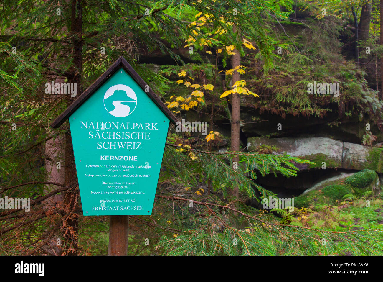 Sign with logo of the Saxon Switzerland National Park / Nationalpark Sächsische Schweiz, Saxony, Germany - Stock Image