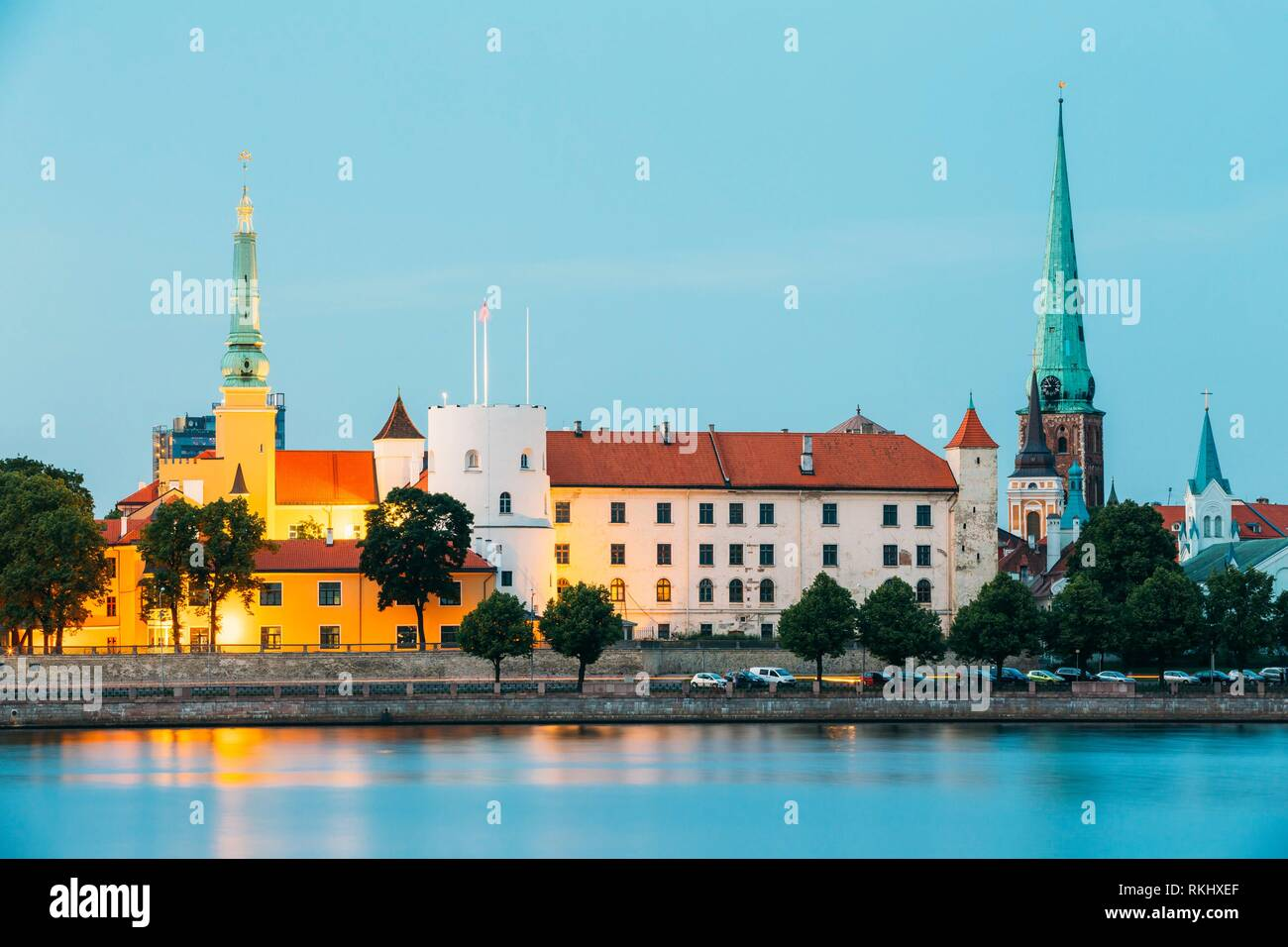 Latvia. Riga Castle, Famous Historical Cultural Medieval Landmark Of Late Classicism And Official President Residence On Embankment Of Daugava River - Stock Image