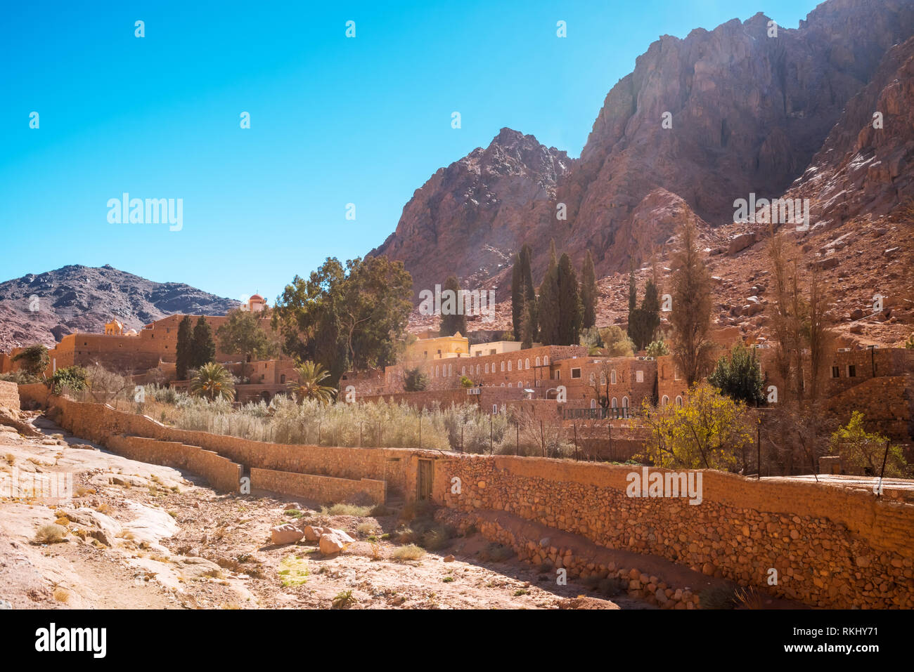 Church and monastery in Saint Catherine next to Moses mountain Egypt, Sinai. Famous place for Christianity Orthodoxy pilgrims - Stock Image
