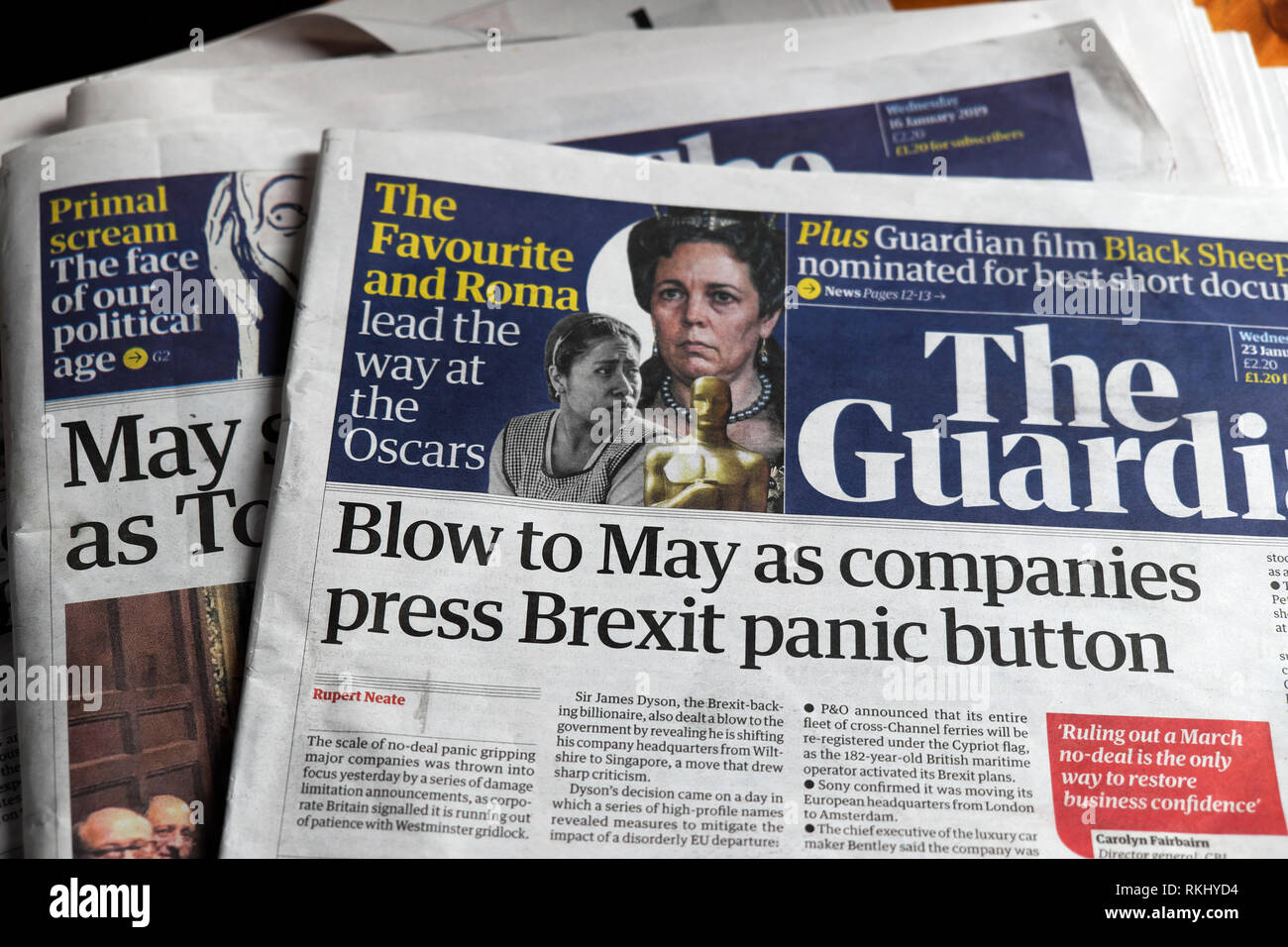 ''Blow to May as Companies press Brexit panic button' front page  Guardian newspaper headline 2019 London England UK - Stock Image