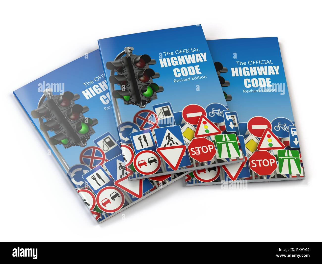 Highway code book. Book of traffic rules and law with traffic road sign and traffic light. Preparation for exam or driving test concept. 3d - Stock Image